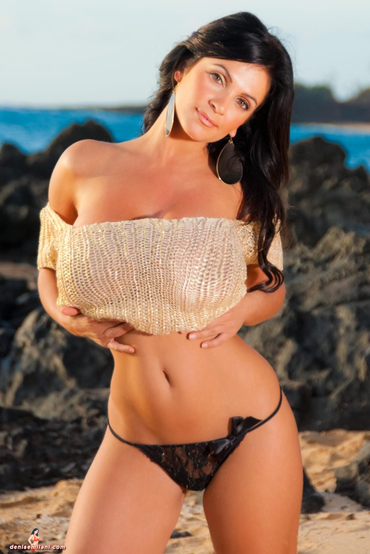 Denise Milani Golden Sun Pic