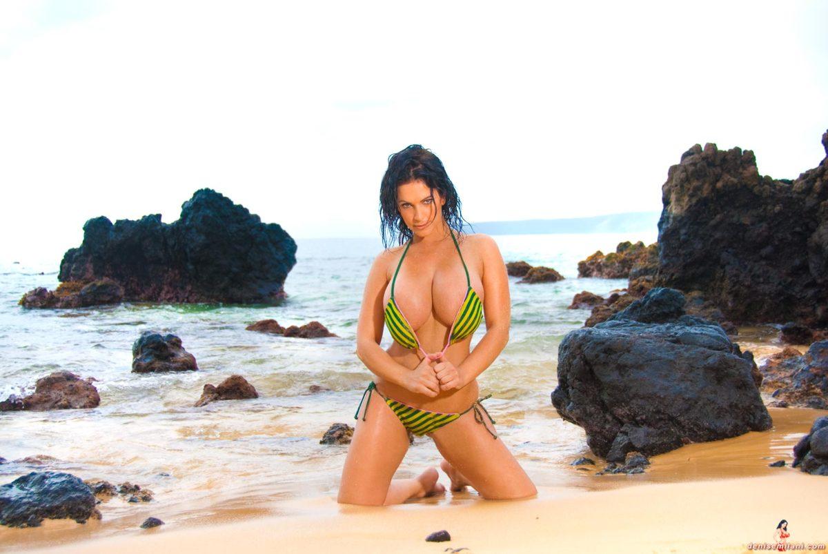 Denise Milani Green Stripe Bikini Pic